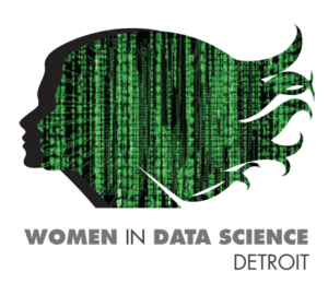 Women In Data Science. Image shows a computer data overlay in the shape of a head with long hair.