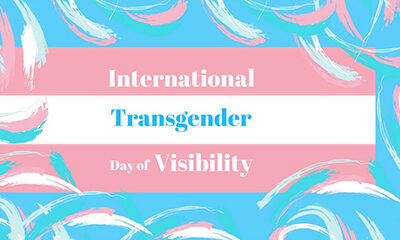 International Transgender Day of Visibility - Trans flag in pink and white stripes
