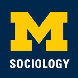 Department of Sociology. Image is of the University of Michigan yellow block M and the word Sociology in all caps.